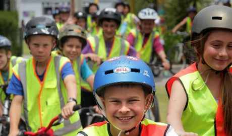 Jordan York from Omanu Primary School out riding with Kids Can Ride cycle safety programme which strongly advocates for compulsory helmets.