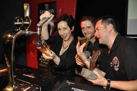 Jaquie Brown and the winning D4 team at the Guinness Pint Master 2012 competition.
