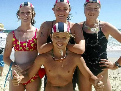 THUMBS UP: Byron Bay's gold medal winning under-13 swim team. Sinead Gorman (left), Darcie Balcon, Ava Buckley and Finlay Campbell. Photo: Deb Milgate.