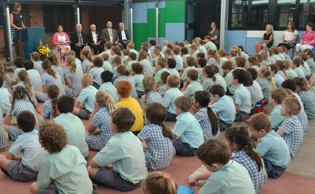 OFFICIAL OPENING: St Joseph's Primary School Woodburn principal Janelle Heffernan speaks at the official opening.