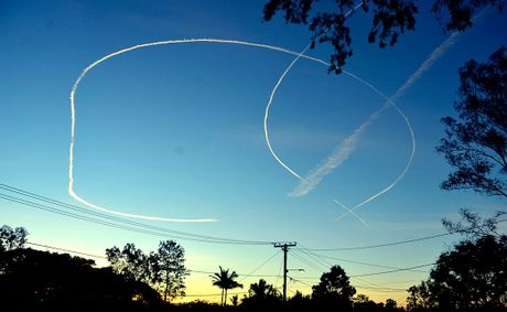 Joseph Kendall took this photograph of two planes circling Ipswich on Tuesday.