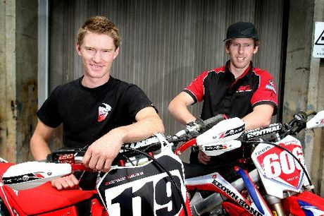 BRAND SPANKING: Wanganui riders Richard Dibben (left) and Glenn Haden will be looking for sweet revenge in the NZ super motard Tri Series on their new CRF450 Hondas this season. PHOTO/BEVAN CONLEY