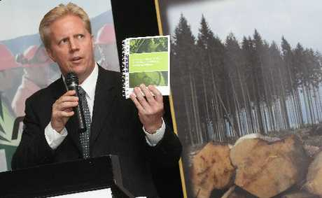 Rotorua MP Todd McClay introduces  the new forestry safety code at an industry conference in Rotorua.