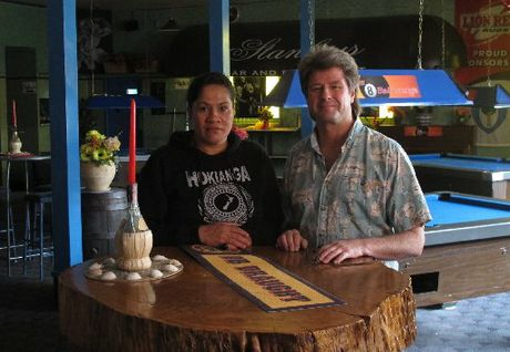 Kaikohe Hotel publican Neal Summers and duty manager Louella Webster. Photo / Peter de Graaf