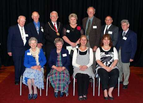 "HONOURS: Waitaki District Council Citizens Award winners included: back, Ivan Emslie, Reg Partridge, Mayor Alex Familton, Sally-Ann Donnelly, Gordon Johnsen, John Sturgeon and Carl ""Barney"" Barton. Front, Marion Partridge, Barbara Jopson, Lisa Murphy and Kerren Crawford. PHOTO/CAROL EDWARDS"