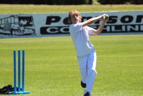 SOARING HIT: Totara School's Douglas Milne, 12, watches his ball during the Cricket Festival Day in Oamaru yesterday. PHOTO/REBECCA RYAN