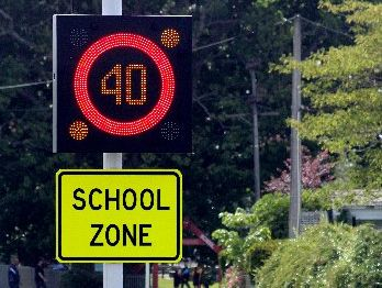 The new school zone variable speed sign in action.