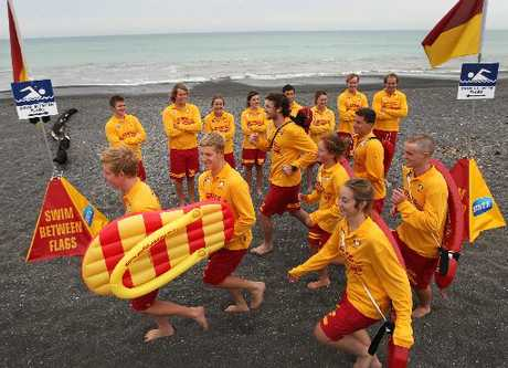 APPEAL: Seven newcomers in the Regional Lifeguard Service participating in a training run under the watch of more experienced lifeguards on the Marine Parade beach. Surf Life Saving&#39;s National Jandal Day Appeal is under way this week to help raise funds for the service.PHOTO/DUNCAN BROWN HBT124567-01 