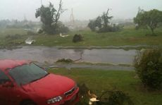 This photo shows some of the damage caused by the tornado in Albany.