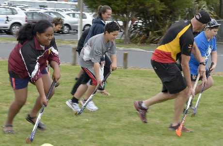 Sport Waikato SportsForce hockey development officer Jack Clayton puts a Bodywise group through some drills as part of a physical activity session.