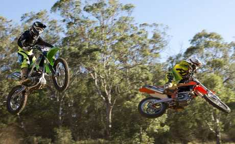 Toowoomba motocross riders Ojai Maguire and Kerrod Morrissy practising this week at Echo Valley.