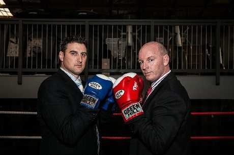 Hobec Partner John Mackay (left) and Craig's Investment Partners Aaron Moores were the first two confirmed participants for the the Lord of the Ring charity boxing challenge.