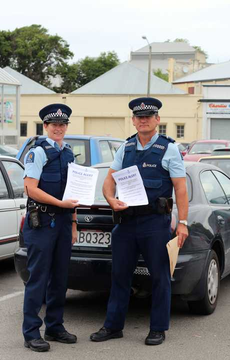 POLICE ALERT: In just 10 minutes Oamaru police Senior Constables Graeme McPherson and Carrie Hamilton found eight vehicles that had been left unlocked by drivers in central Oamaru areas yesterday. PHOTO/REBECCA RYAN
