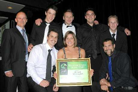 WINNER: Ben Whittingham of Activ8 Northland and his team receive their award for the Exercise Studio of the Year at the 2012 Fitness Industry Awards.