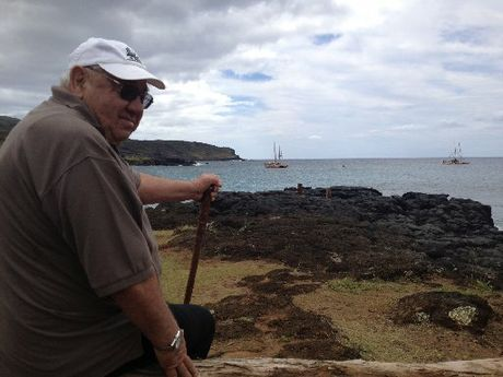 "DREAM COME TRUE: Master waka builder Hekenukumai ""Hec"" Busby on Easter Island, with the two ocean-going waka he built moored just offshore."
