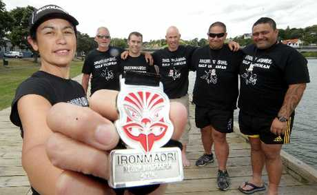 SILVER LINING: Back from success at the Ironmaori Half Ironman are Coriinne Te Au-Watson (left), Tony Fantham, Adam Holmes, Jason Page, Whetu Te Paki, Rua Wanoa. PHOTO/STUART MUNRO
