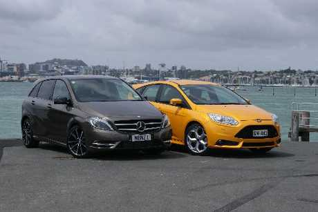 The Mercedes-Benz B-Class B250 takes on Ford's Focus ST. Photo / David Linklater