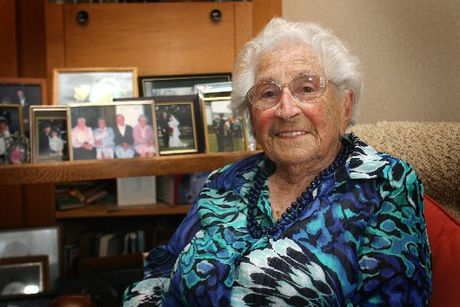 LEGEND: Nancy Francis celebrates her 100th birthday today with family and friends, and says it is her family's care that has kept her alive.