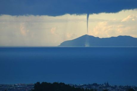 A waterspout near Mayor Island seen from Summerhill golf course in May 2009.