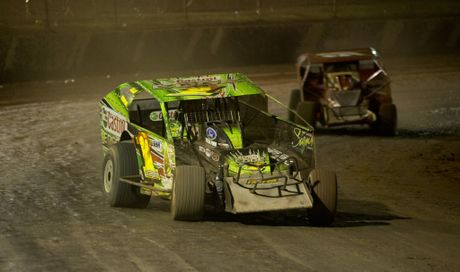 DIRT RUN: Mark Robinson drives to victory in the V8 Modified Production race at Charlton Raceway.