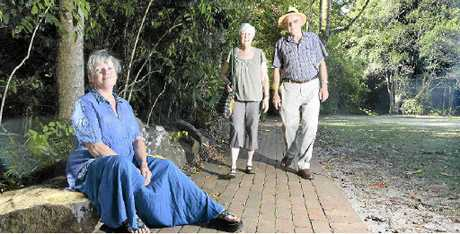 OPPOSED TO PLAN: Gaby Luft (seated) with Robin and Norman Taylor are against the upgrade of Maleny's Mary Cairncross Scenic Reserve.