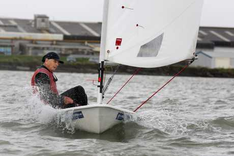 SMOOTH SAILING: Jock Bilger competes in the 2011 Masters Games. PICTURE : TRACEY GRANT