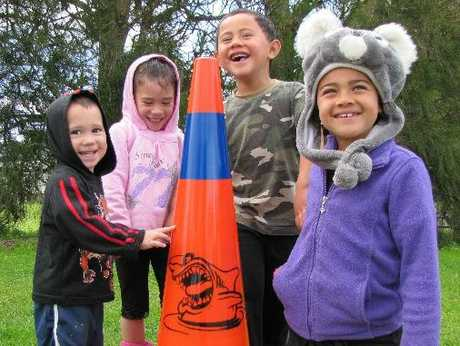 Te Puna children, Henare Leef, Waipari Leef, Toroa Bidois and Waiwhakaata Tangitu know if the Cuzzie cone is out, to keep clear.