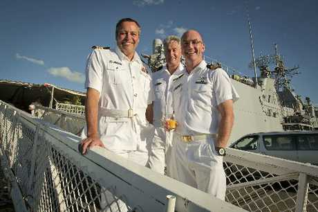 HMNZS Te Mana's Commander Dave Toms (left), Lt Commander Neville Smith (navy liaison) and Lt Commander Alistar McAffie at a special scholarship announcing function last Friday. Photo / Warren Buckland