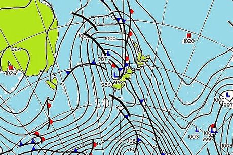As the map shows, the country was buffeted by a storm which developed in the Tasman Sea on October 12.