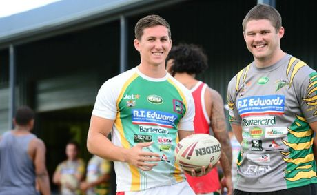 Jacob Ling (right) and James Furminger enjoy a break during pre-seaon training with the Ipswich Jets.
