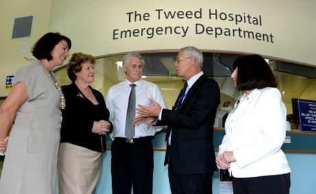 Melinda Pavey, Jillian Skinner, Geoff Provest, Tim Free and Hazel Bridgett at Tweed Hospital.