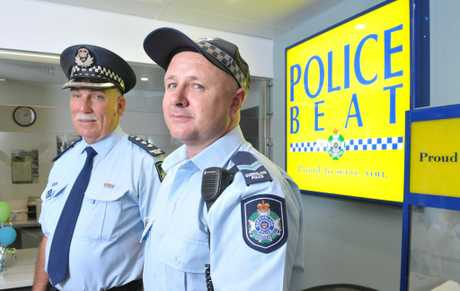 Inspector Merv Adamson and senior constable and officer in charge at the new Riverlink Police Beat Tim Stephens at the newly opened beat on Tuesday.