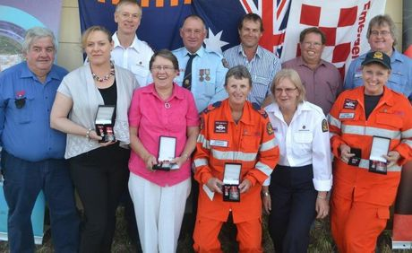 Winners (and their representatives) of SES National Service Medals and Meritorious medals and clasps in Roma last week.