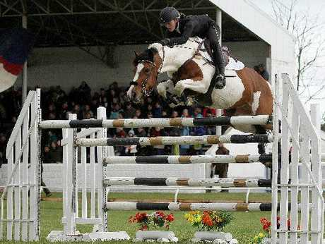 Carolyn O'Grady and her horse The Dreamer set personal records at the Egmont A&P; show in Hawera. Photo / Kelly Wilson