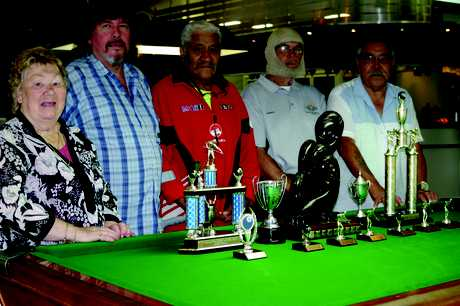 TOP SHOTS: Kaitaia RSA Golden Oldies' Pool Club's big winners of 2012 with their trophies are, from left, Jean Holland, Petero Andersen, Lou Te Haara, Ron Berghan and Arthur Simeon.