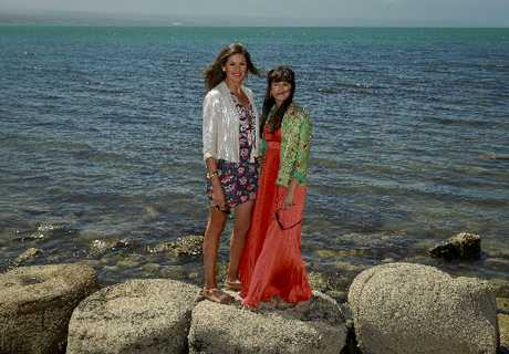 Nardine Kelly and Hayley Stuart-Malcolm pictured on the beach at Ahuriri.