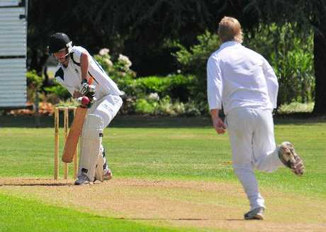 SOLID DEFENCE: Greytown batsman Daniel Ingham takes one on the gloves from Red Star medium pacer Peter Sigvertsen.