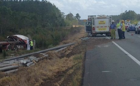 The scene of the fatal crash on the Bruce Highway