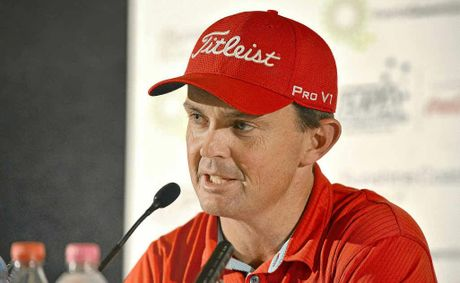 Greg Chalmers at a press conference at the Palmer Coolum Resort ahead of the PGA.