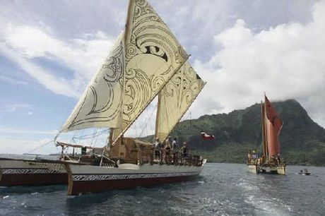 The waka hourua, double-hull sailing vessel, Te Matau A Maui. Photo / File