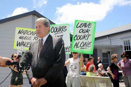 Winston Peters joined the Dargaville Court protest yesterday to say justice is more than a matter of dollars and cents.