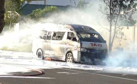 Fire fighters were called to a Maxi Taxi well ablaze in Maroochydore.