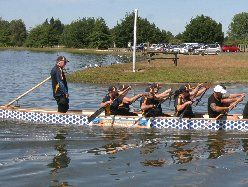 HEALTHY COMPETITION: The Cancer Society Wairarapa dragon boat team competing in the Dragon Boat Fun regatta, held at Henley Lake on Sunday.