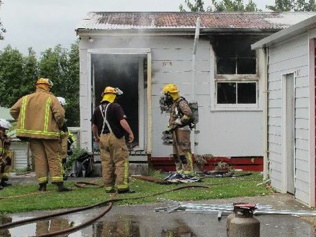 Waihi volunteer fire fighters were on the quickly on the scene of a fire in a prefab unoccupied classroom at Waihi College this morning.