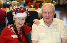 Meals on Wheels Xmas party. Irene Hosie and Gary Shadforth. Photo: John Gass / Daily News