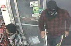 CCTV picture stills from the armed robbery of Redbank Plains. Police believe this incident may be linked to the attempted armed robbery of a fast food restaurant at Springfield Lakes overnight.