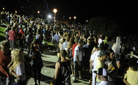 Party goers at Byron Bay's Main Beach celebrate New Year's Eve, 2011.