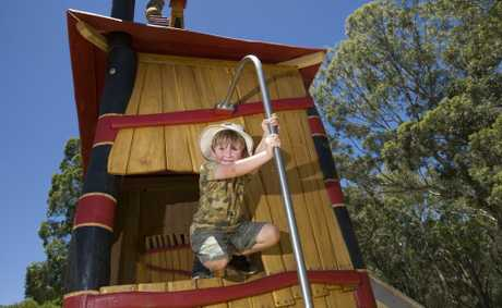Declan Splatt enjoys playing on the new Magical Witch's Forest playground at Picnic Point.