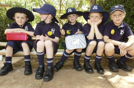 Enjoying their first day of school in January 2006 are (from left) Jacob Zupp, Thomas Nolan, Luke Douglas, Eric Ratray, Finn Collison. Yesterday, all students finished their seven years of schooling at the East State School.