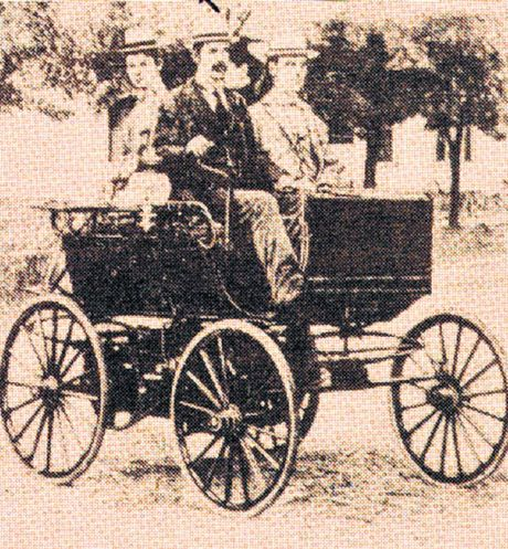 EARLY CAR: Transportation by car was in its infancy when this vehicle was built in 1896 by R E Olds.